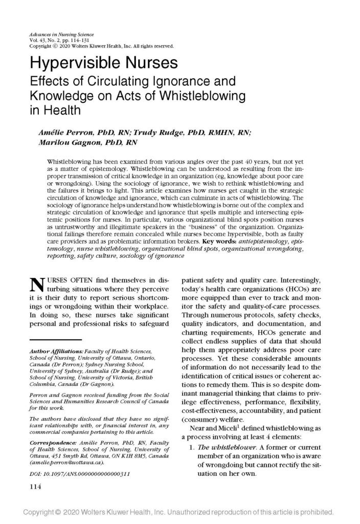 Hypervisible Nurses: Effects of Circulating Ignorance and Knowledge on Acts of Whistleblowing in Health.