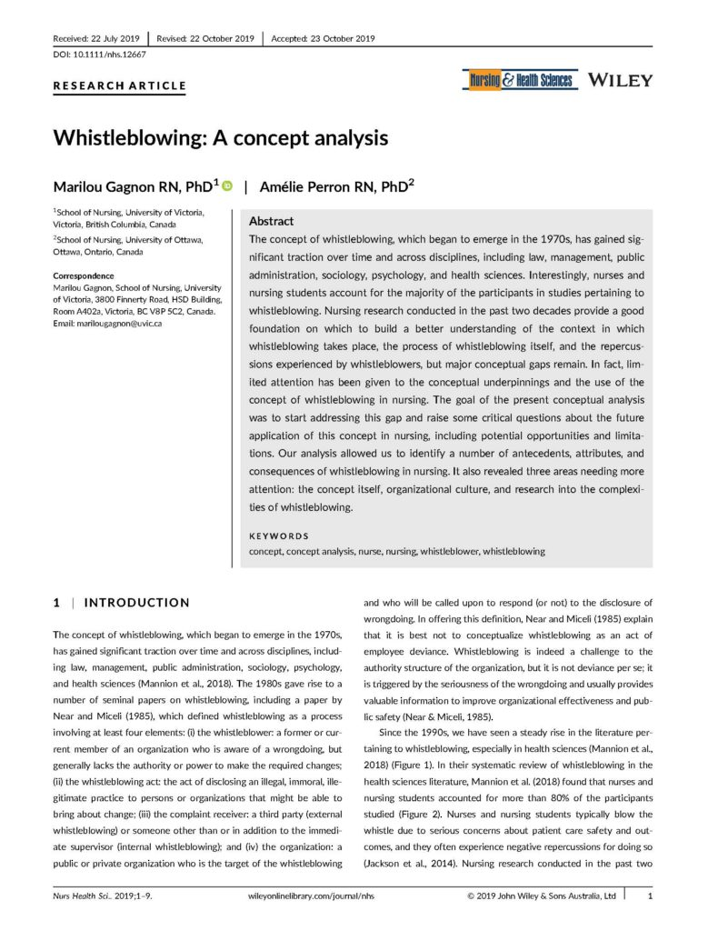 Whistleblowing in Nursing: A Concept Analysis