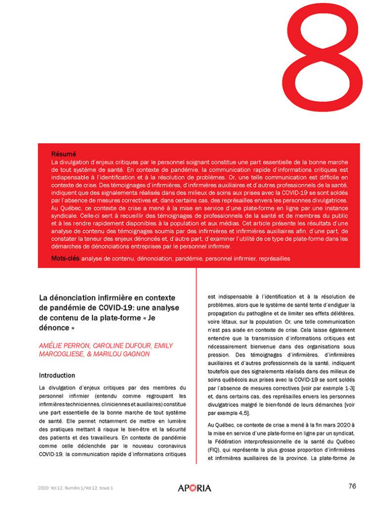 Perron, A., Dufour, C., Marcogliese, E., Gagnon, M. (2020). La dénonciation infi rmière en contexte de pandémie de COVID-19: une analyse de contenu de la plate-forme « Je dénonce »